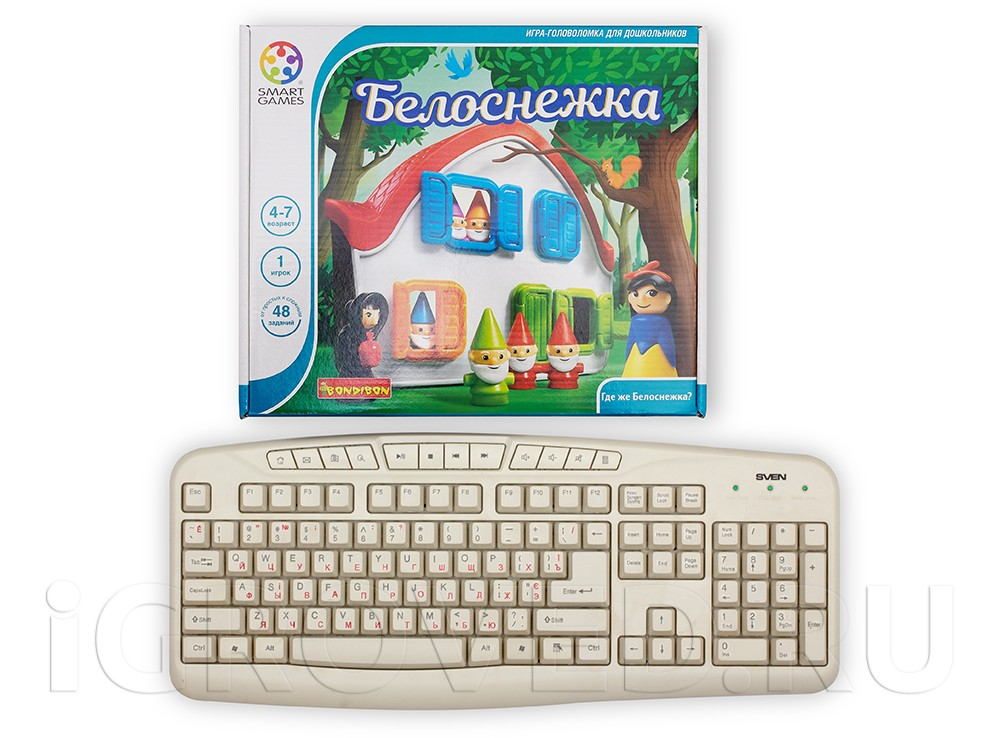 Коробка настольной игры Белоснежка в сравнении с клавиатурой