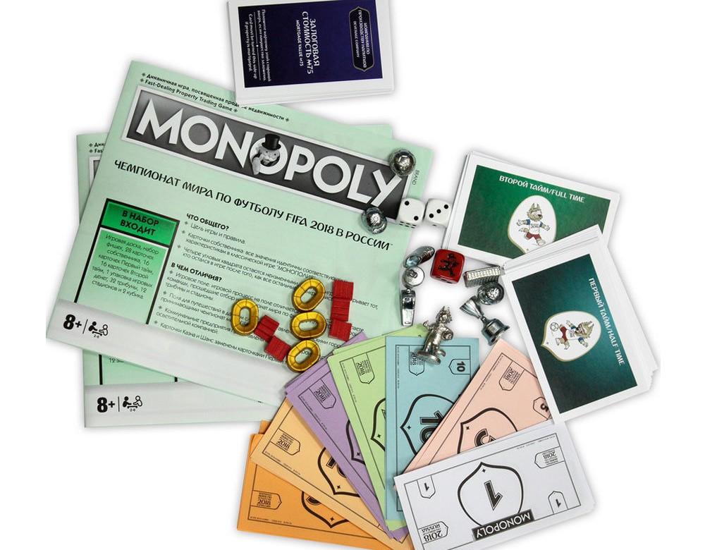 Компоненты настольной игры Монополия FIFA 2018