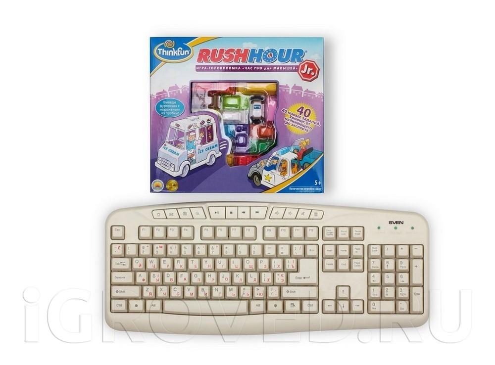 Коробка настольной игры-головоломки Час  Пик  для малышей в сравнении с клавиатурой