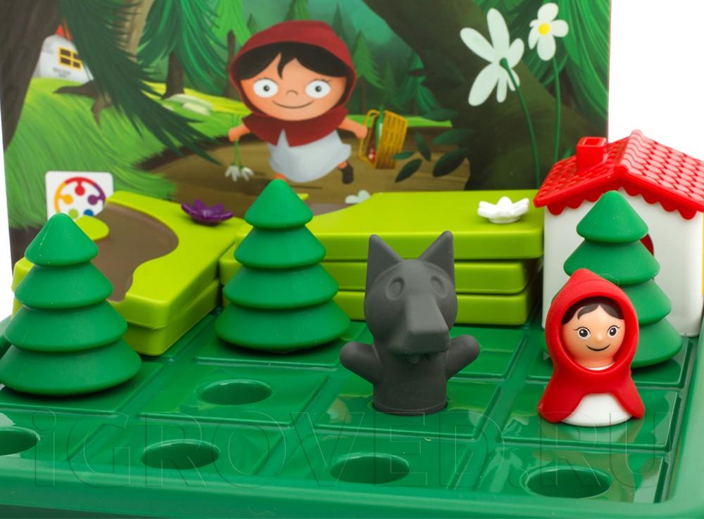Компоненты настольной игры-головоломки Красная Шапочка и Серый волк