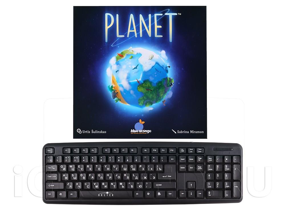 Коробка настольной игры Планета (Planet) в сравнении с клавиатурой