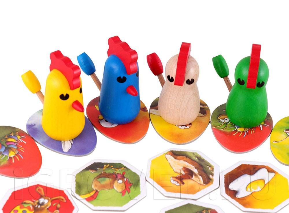 Компоненты настольной игры Цыплячьи бега (Zicke Zacke Huhnerkacke)