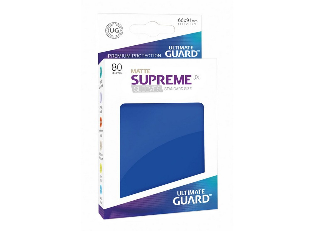 Протекторы Ultimate Guard, матовые синие (Supreme UX Sleeves Standard Size Matte Blue)