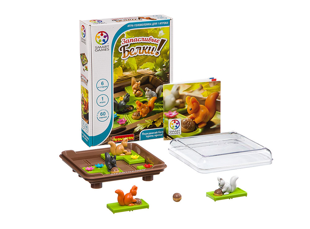Коробка и компоненты настольной игры-головоломки Запасливые белки