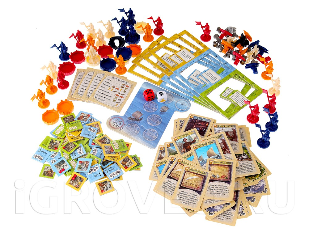 Компоненты настольной игры Колонизаторы: Города и рыцари