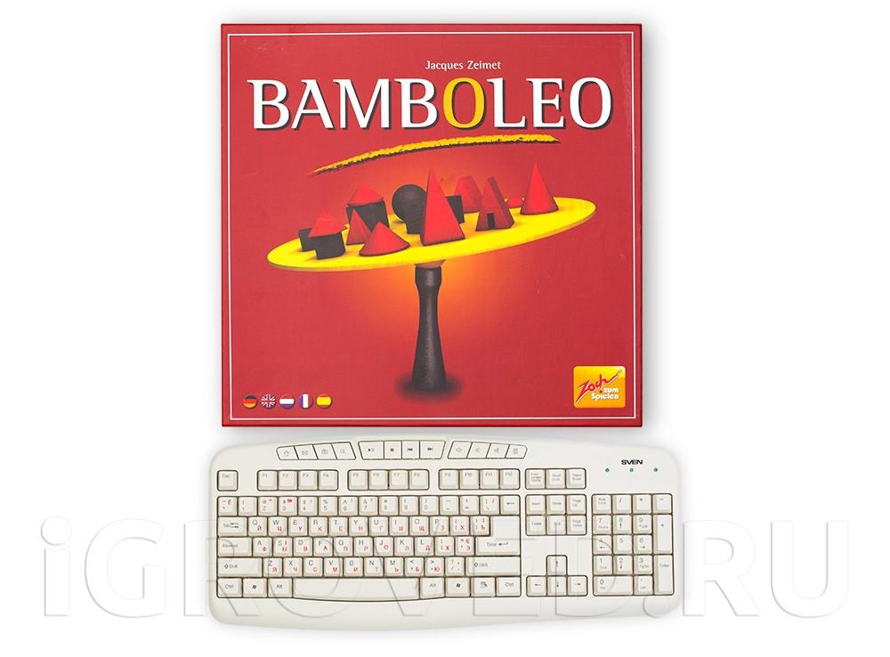 Коробка настольной игры Бамболео (Bamboleo) в сравнении с клавиатурой