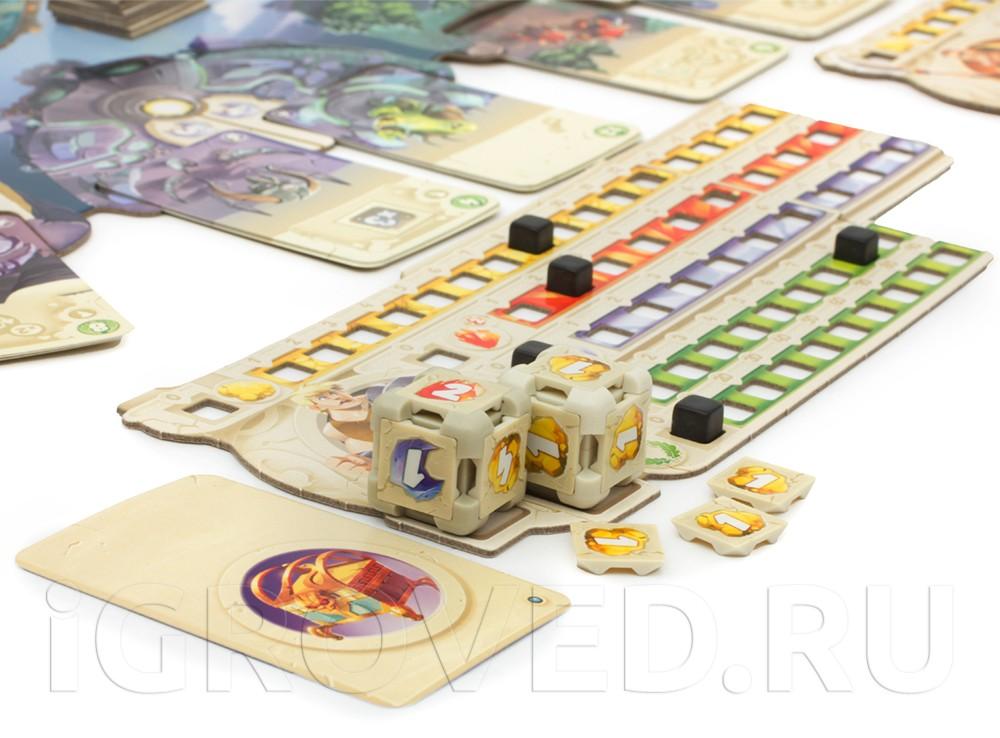 У каждого игрока есть 2 кубика, которые они могут модифицировать.  Настольная игра Грани Судьбы (Dice Forge)