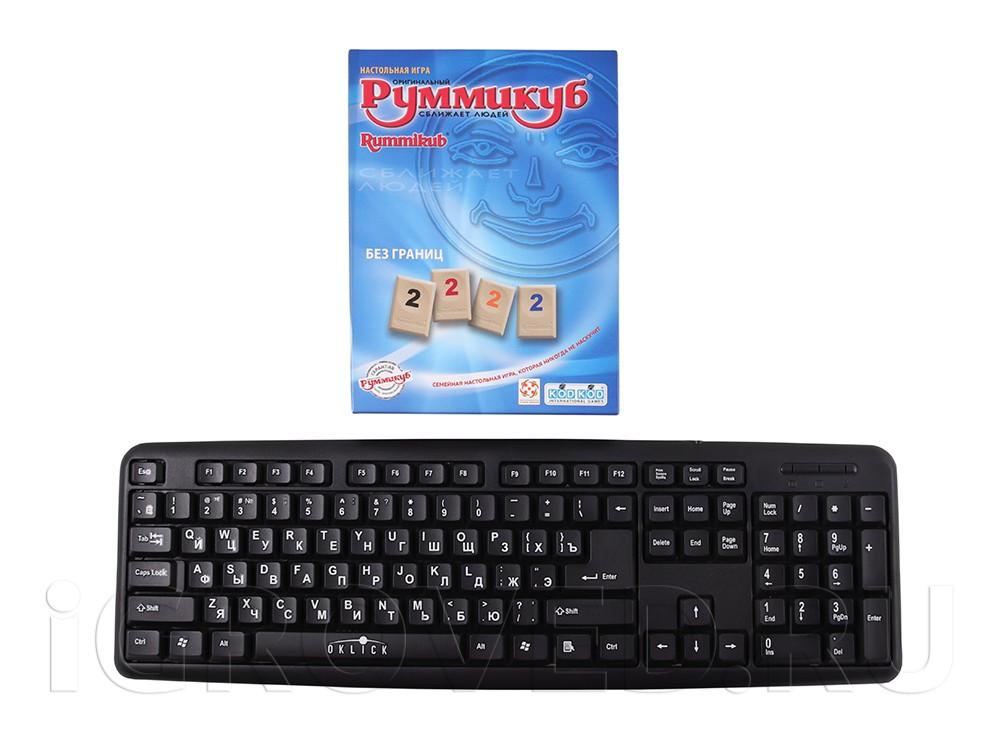 Коробка настольной игры Руммикуб. Без границ (мини) в сравнении с клавиатурой