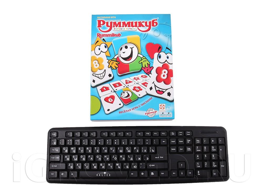 Коробка настольной игры Руммикуб. Хорошее начало в сравнении с клавиатурой
