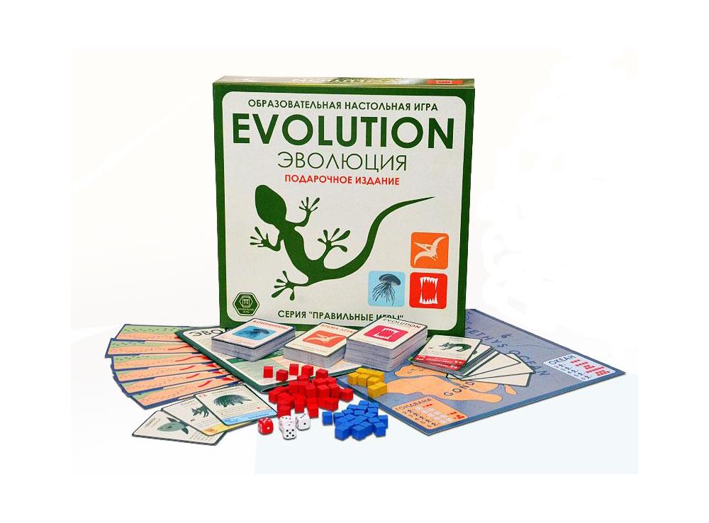 Коробка и компоненты настольной игры Эволюция. Подарочный набор