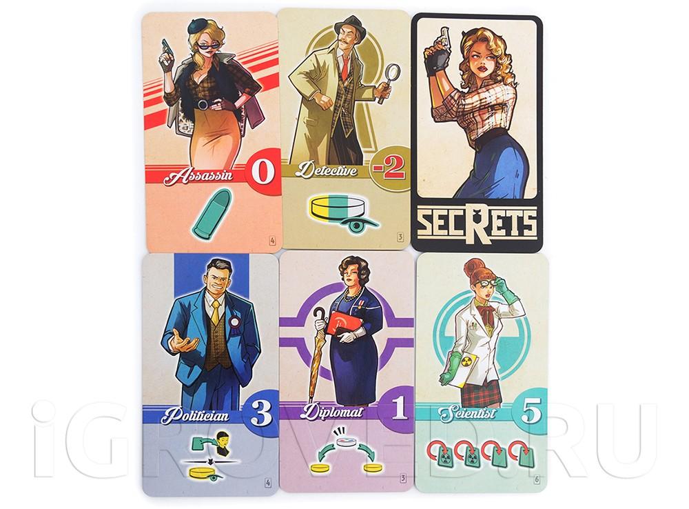 Карточки персонажей  настольной игры Агенты и хиппи (Secrets)