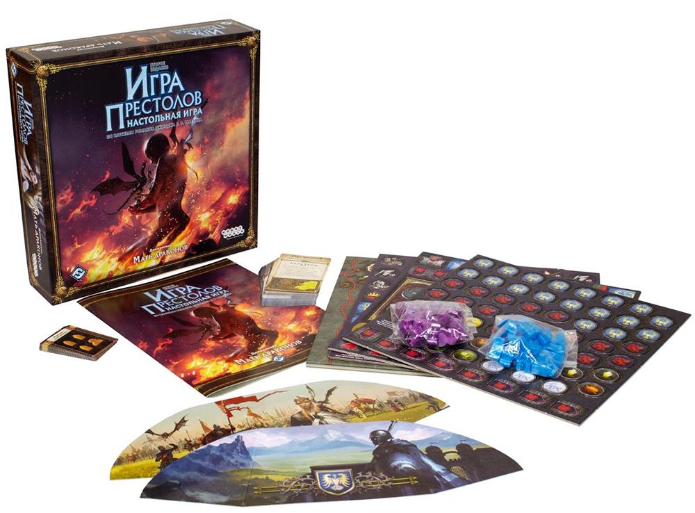 Коробка и компоненты настольной игры Игра престолов. Мать драконов (дополнение)